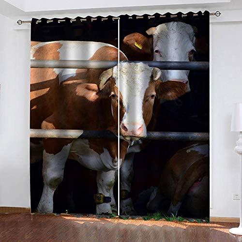 TTBBBB CortinasDormitorio Juvenil Vaca Animal Ancho 140 x Altura 160 cm Dormitorio Salon Habitacion Niño Cortina Termicas con Reduccion Ruido Ojales 100% PoliésterDecoración 2 Paneles