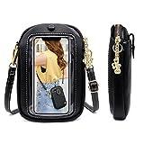 gounnu borsa a tracolla per telefono con touch screen da donna,piccola borsa per cellulare,borsa a tracolla per portafoglio da donna in pelle pu con tracolla regolabile,leggero crossbody bag (nero)