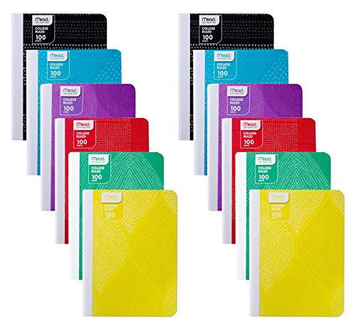 Mead Composition Books/Notebooks, College Ruled Paper Composition Notebook, 100 Sheets (200 Pages), Fashion Designs - (12 Pack)