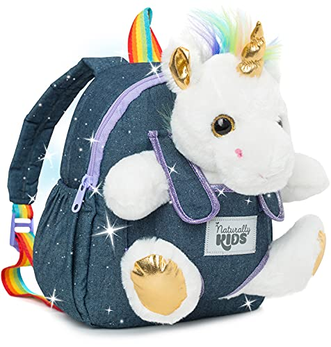 Naturally KIDS Small Unicorn Backpack - 3 - 4 Year Old Girl Gifts - Toddler Backpack for Girls Boy w Stuffed Animal - Toys for 3 Year Old Girls - w Pockets & Reflective Logo - Backpack w White Unicorn