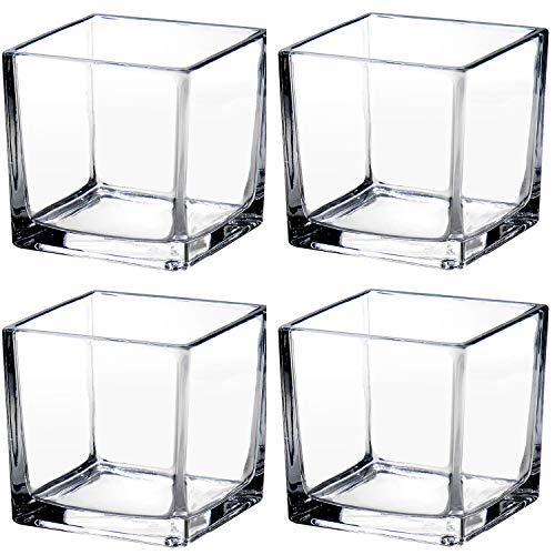 Jarrones de cristal de 10 cm, transparentes cuadrados floreros, centros de mesa decorativos para decoración del hogar, bodas, suculentas, jardineras, terrario, juego de 4