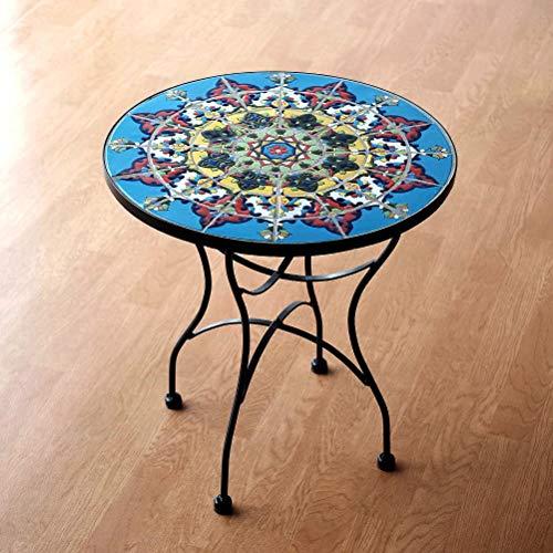 ガーデンテーブル タイル おしゃれ かわいい アイアン 円形 丸型 ガーデン 丸テーブル モザイクタイルのミニテーブル エミリオ
