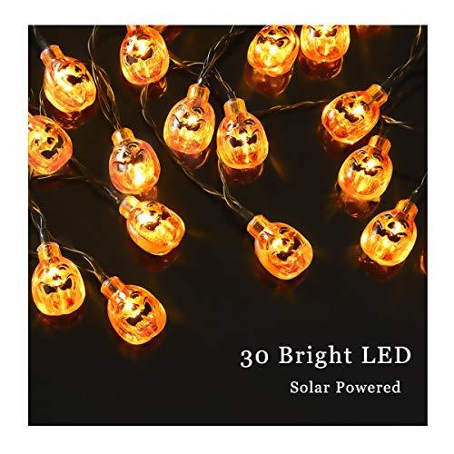 Halloween Pumpkin String Lights Eurus Home 20 ft 30 LED Halloween Lights | Solar Powered Pumpkin Lights with 8 Lighting Modes Jack-O-Lantern Decorative Lights for Indoor Outdoor Halloween Party IP65