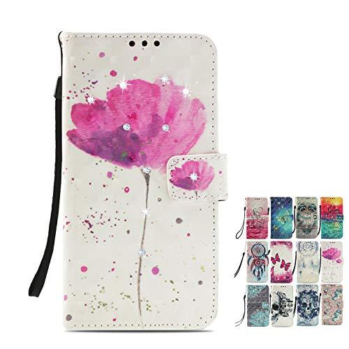 LA-Otter Kompatibel für Sony Xperia L2 Hülle Glitzer Diamant Leder Wallet Cover Tasche Handyhüllen mit Kartenfach Schutzhülle Flip Hülle - Blume Rosa