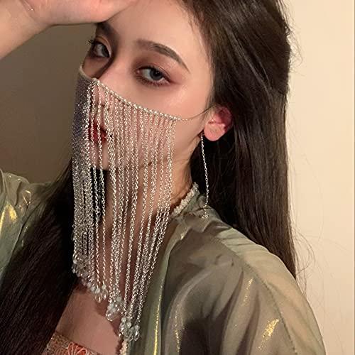 yuese Cadena de cara con borla de estilo chino, accesorio para el cabello, cortina de cara, borla y máscara. Color de metal: plateado