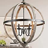 KSANA Wood Orb Chandelier, 27' Large Globe Chandeliers for Dining Rooms, Living Room and Foyer