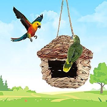 Jadeshay Cages d'oiseaux - Paille nichoir mangeoire Petits Animaux de Compagnie abri nid nichoir pour Perroquet Hamster Animaux Cage Maison Suspendus décor(M)
