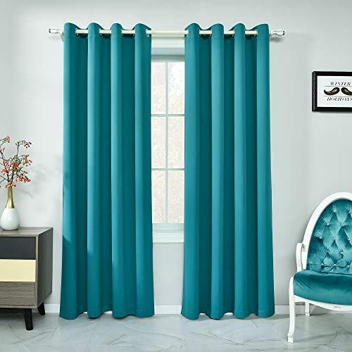 Teal Curtains 84 Inch Length Light Blocking Thermal Insulated Windows Drapes Darkening Room Curtains for Living Room Top Grommet Teal Blackout Curtains for Bedroom 2 Panels 52 x 84 Inches Long
