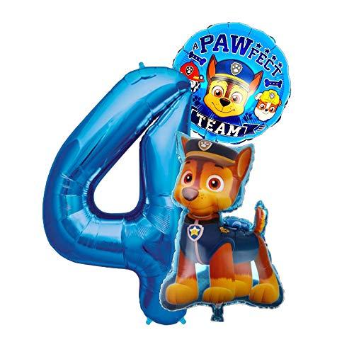 Paw Patrol Chase Geburtstags Set + Riesenzahl 1-8 Folienballon Luftballon Hunde Team 1 2 3 4 5 6 7 8 Zahl Hund Kindergeburtstag Deko Dekoration Mottoparty Party Herz Chas Ballon (Zahl 4)