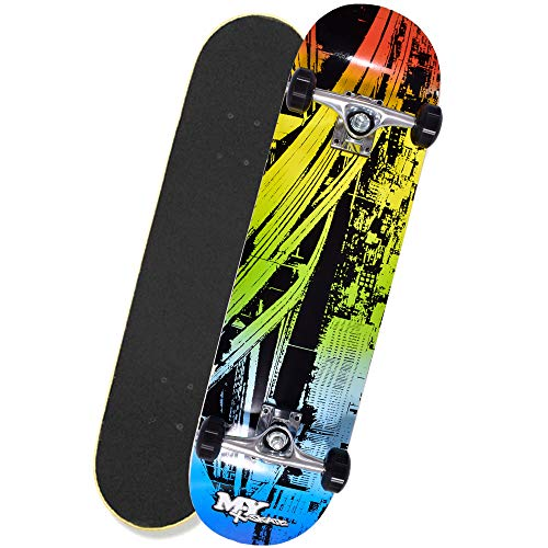 M.Y X-Skate Complete Skateboard 31' Double Kick Beginner Skateboard for Kids, Teenagers & Adults, 7 Ply Maple Deck, ABEC 7 Bearings for tricks and skateparks
