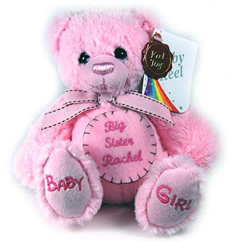 NEW Baby Girl Première feutre rose personnalisée Badge Rose peluche Teddy Ours en peluche doux petit 18 cm