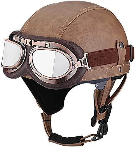 OOMEI Medio Casco de Moto Abierto,Casco Moto Jet Vintage Casco de Motocicleta para Hombres y Mujeres Retro Seguridad Ligera Eléctrico Casco Half-Helmet,ECE Homologado (Color : A, Size : S=54~56cm)