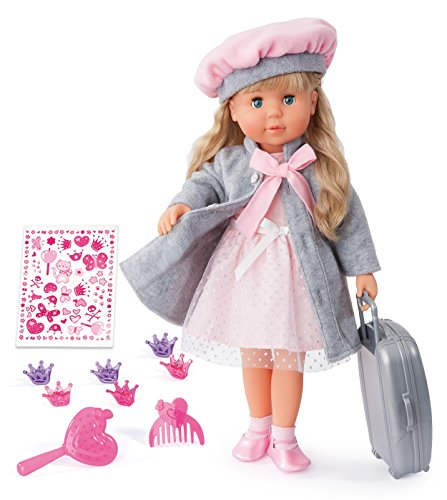 Bayer Design 94635AX Funktionspuppe Charlene mit Haaren und Schlafaugen-spricht und singt 90 Sätze, 2 Gedichte und 8 Lieder, 46cm, rosa, grau