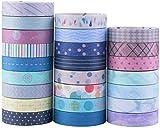 YUBX Washi Tape, 24 Rotoli Tape Decorativo Coprente per lavoretti di Fai da Te, diari, Biglietti, Schizzi (Basic Pattern)