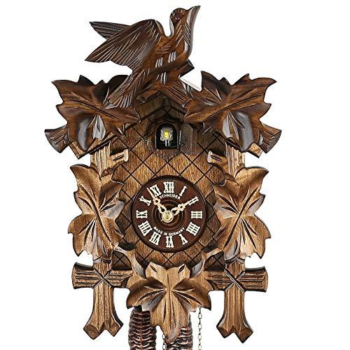 Haus der 1000 Uhren Kuckucksuhr - Fünflaub - Handarbeit - Original Schwarzwalduhr - 8-Tage-Uhr - aus Echtzolz