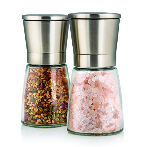 Elegant Salt and Pepper Grinder Set with Matching Stand - Stunning Glass Body with Adjustable Ceramic Grinder - Premium Pair of Salt & Peppercorn Mills - Brushed Stainless Steel Salt and Pepper Shakers - Set of 2