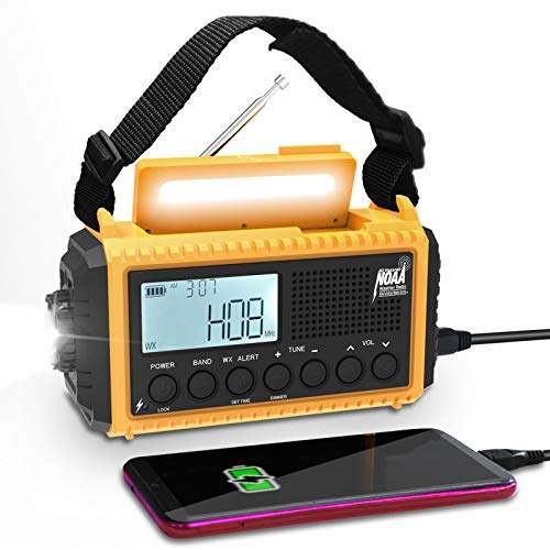 Emergency Radio Raynic 5000mAh Weather Radio Solar Hand Crank AM/FM/SW/NOAA Weather Alert Portable Radio with Cellphone Charger, Headphone Jack, Flashlight, Reading Lamp and SOS Alarm (Yellow)