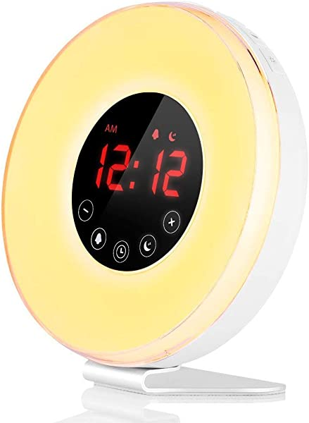 Wake Up Light LBell Alarm Clock 7 Colored Sunrise Simulation Sleep Aid Feature Dual Alarm Clock With FM Radio 7 Natural Sound And Snooze For Kids Adults Bedrooms 6639 Wake Up Light