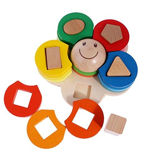 MagiDeal Blocs de Construction Jeu à Empiler Fleurs Forme Géométries Bois Jouet éducatif Montessori Bébé Enfant