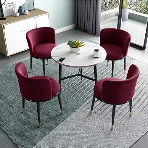 Nordic Style Ronde Witte Hoge Dichtheid Panel Koffie Bijzettafel Met Vier Stoelen Van Koffietafel,80 * 72.5cm.
