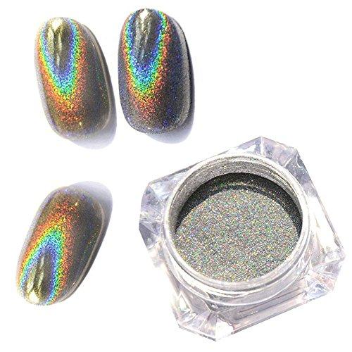 1 gr/schachtel Shiny Laser Nagel Holographische Pulver Regenbogen Nägel Glitter Staub Chrom Pigment...
