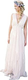 Women's Deep V Neck Backless Zipper Flowy Chiffon Beach Bridal Gown