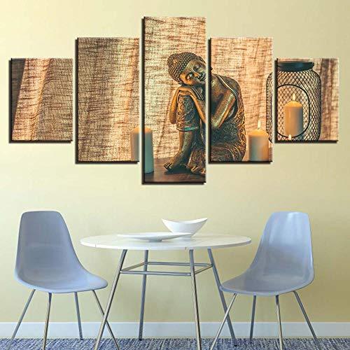 WADPJ muurkunst afbeelding schilderij 5 stuks koper Boeddha kaars canvasdruk poster Home Decor-40x60 40x80 40x100 cm geen lijst