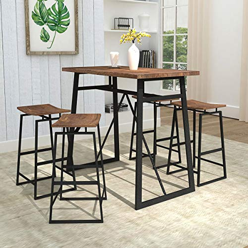Homissue 5-Piece Dining Room Table Set, Counter Height Bar Table with 4 Stools, Perfect for Small Dining Space, Kitchen Room, Mini Bar or Patio, Brown