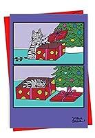 Cat Presentクリスマスユーモア用紙カード 1 Christmas Card & Envelope (SKU:1187)