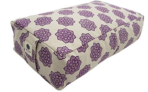 COREASANA Mandala Print Rectangular Yoga Bolster Pillow Filled with Buckwheat Hull,...