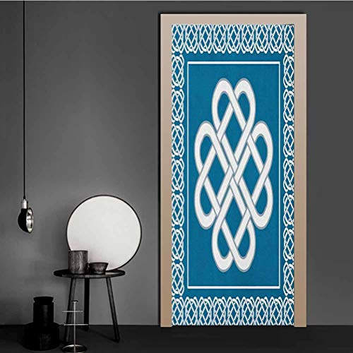 Irish 3D Wallpaper Celtic Love Knot Good Fortune Symbol Framework Border Historical Amulet Design - Vinyl Decal Door Dark Aqua White for Home Decor Art   23' x 70'