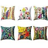 VLUNT 6 Pack Fundas de Cojines para Sofa, Estampados de Acuarelas Flores y pájaros Fundas Cojines 45x45cm Cushion Cover
