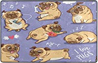 子犬パグスーパーソフトインドアモダンエリアラグふわふわラグダイニングルームホームベッドルームカーペットフロアマットベビーキッズ犬猫80x58インチ-80x58インチ