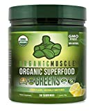 Organic Muscle Superfood Greens | USDA Certified Organic Green Juice Powder | Supports Gut Health, Energy & Weight Management | Lemon Flavor | 30 Servings