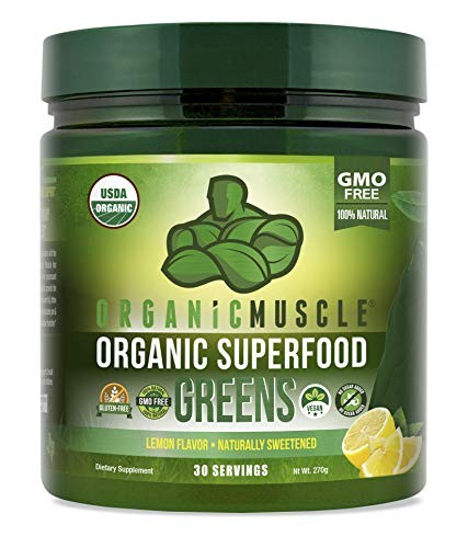 Organic Muscle Superfood Greens | USDA Certified Organic Green Juice Powder | Supports Gut Health, Energy & Weight Management | Vegan, Keto, Non-GMO | Lemon Flavor | 30 Servings