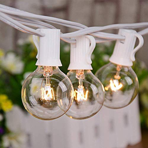 Goothy 25Ft Outdoor String Lights with 27 G40 Clear Lights Bulbs (2 Spare), Patio Hanging String Lights for Indoor Outdoor Garden Decor, C7/E12 Base,Connectable Globe String Lights - White Wire