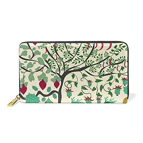 Glücklicher Stoßfänger-Erntebaum Damen Brieftasche Reißverschluss Geldbörse Echtes Leder Geldbeutel Telefon Kreditkartenetui Portemonnaie für Frauen Mädchen