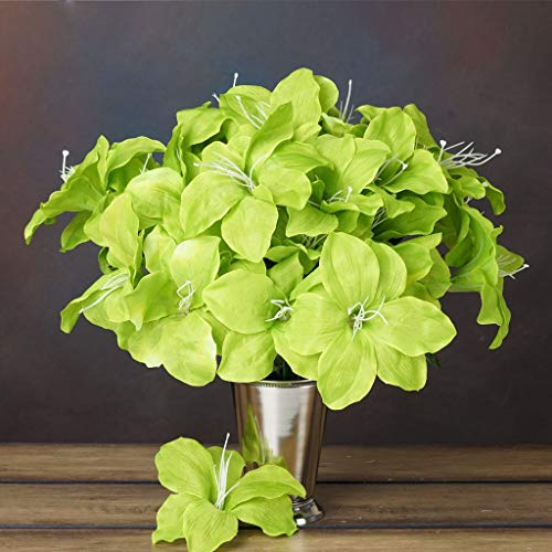 BalsaCircle 60 Sage Green Silk Easter Lilies - 10 Bushes - Artificial Flowers Wedding Party Centerpieces Arrangements Bouquets