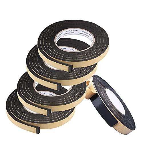 Cinta Espuma Adhesiva,Junta Goma Ventana Aluminio 10 mm (W) * 2 mm (H) * 2 m (L),Cinta Esponja Adhesiva,Burletes Para Ventana,Usada Para Sellar Puertas Y Ventanas,5 Rollos