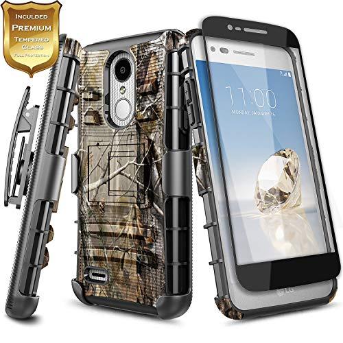 NageBee LG Rebel 4 LTE Case, Aristo 3+ Plus/Aristo 3/Aristo 2/Aristo 2 Plus/Tribute Dynasty/Empire/Zone 4/Phoenix 4/Fortune 2/Risio 3/Rebel 3/K8+/K8S w/Screen Protector, Belt Clip Holster Case -Camo