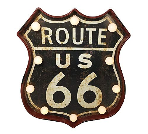 zeitzone Wandleuchte Route 66 LED Beleuchtung US Roadsign Nostalgie Vintage Straßenschild