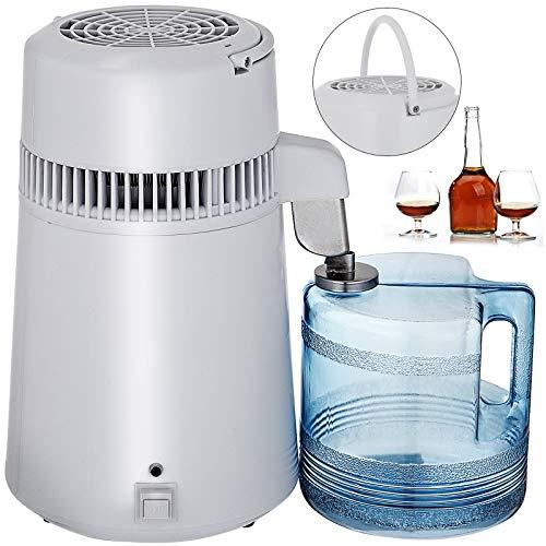 VEVOR Destilador de Agua Purificador Water Distiller Destilador de Agua Pura Filtros Destilación de Agua 4L de Acero Inoxidable Interno con Botella de colección