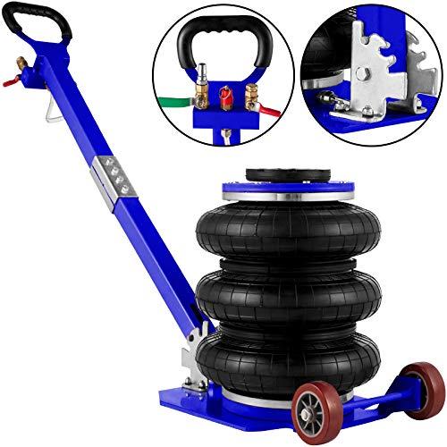 VEVOR Bag Air Jack 11000lbs Capacity Pneumatic Jack Quick Lift 5T, Heavy Duty, Car Repair Jacks and Floor Jacks, Folding Rod Fast Lifting, Triple Bag, with Two Wheels, Quick Car Lifting Jack, Blue