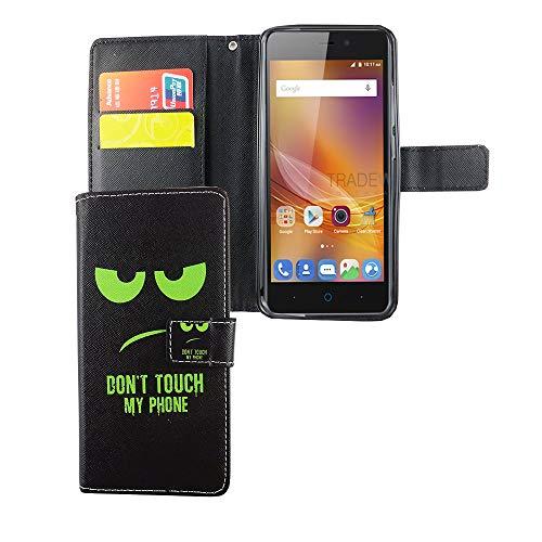 König Design Handyhülle Kompatibel mit ZTE Blade A452 Handytasche Schutzhülle Tasche Flip Hülle mit Kreditkartenfächern - Don't Touch My Phone Grün Schwarz
