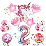 Sunshine smile Einhorn Geburtstagsdeko, Einhorn Party Mädchen Geburtstagsdeko Luftballons,Einhorn Ballon,Folienballon,Party Kindergeburtstag Happy Birthday Dekoration Luftballon 2. Geburtstag