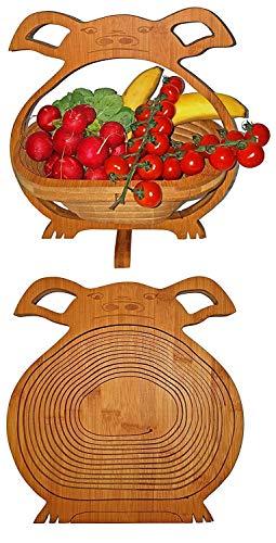 Corbeille de Fruits Bambou Porc Petit Cochon Belle Panier Pliant 30 X 30 cm Meubles en Bois Bol à Dekoschale Pliable Légume Fruits,Idéal Également comme dessous Plats pour Pots,Poêles Etc. par la