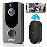 1080P Video Doorbell Camera HD, Wireless Doorbell Camera with Chime, Wireless Operated, HD Night Vision, 2-Way Audio, Motion Detection, IP65 Waterproof, Free Cloud Storage(for iOS & Android)