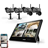 Wireless WiFi Security Camera System (4Pcs), UNIOJO 1080P NVR with 10.1 inches LCD Touch Screen Monitor, 4 HD 2.0 Megapixel Night Vision IP66 Waterproof IP Security Surveillance Camera