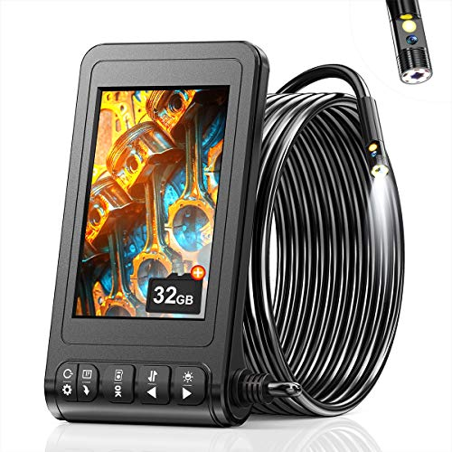 SKYBASIC Endoscopio de Doble Lente, endoscopio Industrial HD 1080P, cámara de inspección Digital con Pantalla LCD de 4,3 Pulgadas, 6 LED, Cable semirrígido, Tarjeta de Memoria de 32 GB (5 M)