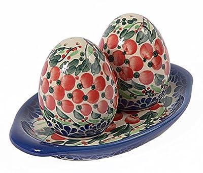 Traditional Polish Pottery, Egg-Shaped Handcrafted Ceramic Salt & Pepper Shakers with Tray (Set of 2), Height 7cm, P.401 by Ceramika Artystyczna Beata Wozniak
